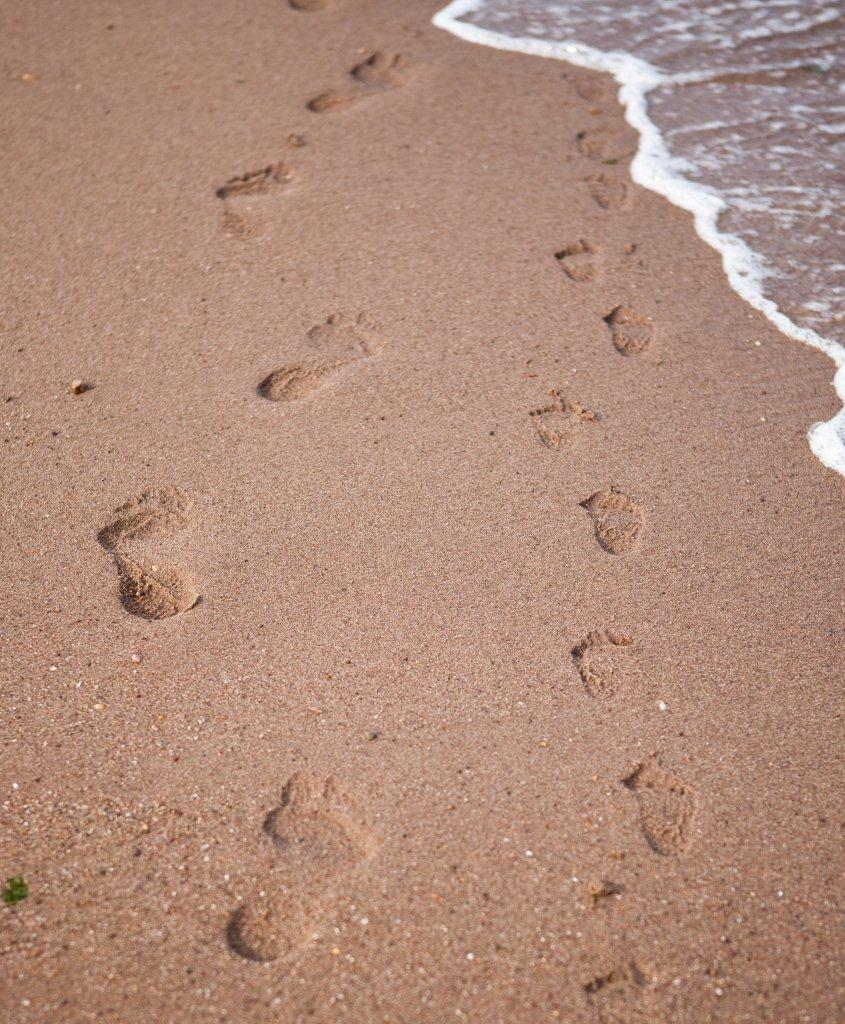 Abeona's footsteps alongside that of a toddler...