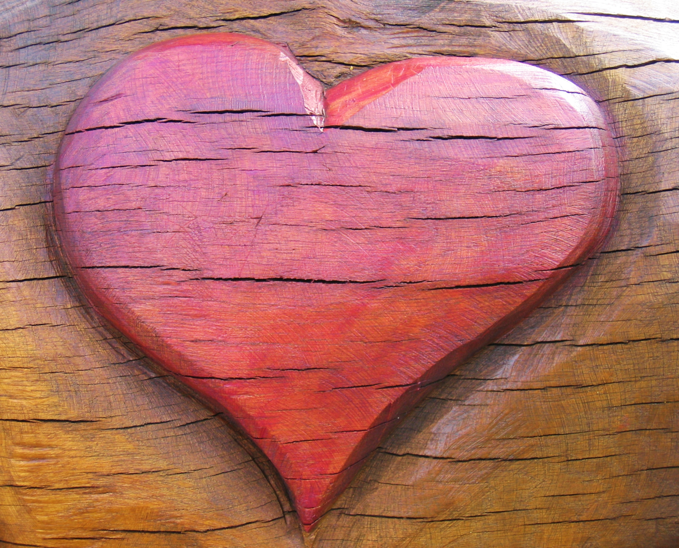 Amazing photo of wooden heart with #9C362F color and 2302x1857 pixels